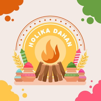 Holika dahan illustration with campfire