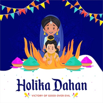 Holika dahan indian festival celebration banner design
