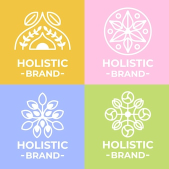 Holistic logo template on different colored backgrounds