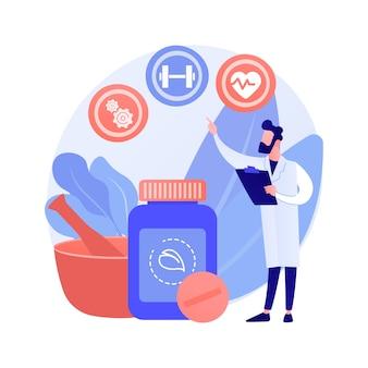 ホリスティック医学抽象的な概念ベクトルイラスト。代替自然医学、ホリスティックメンタルセラピー、全身治療、健康習慣、病気、統合医師の抽象的な比喩。