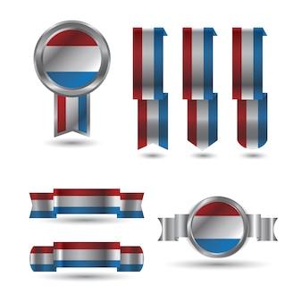 네덜란드 네덜란드 리본 레드 화이트 블루 플래그 설정