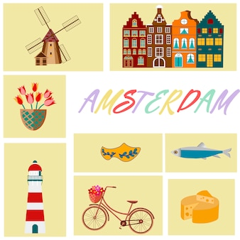 Holland travel cultural and sightseeing symbols frame with tulips wooden clogs and windmills