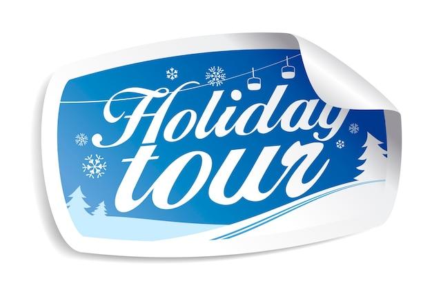 Праздничный тур, рождественская зимняя наклейка