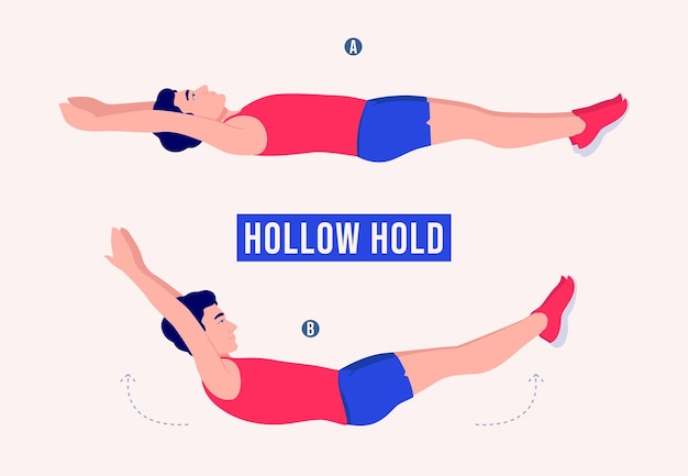 Hollow hold exercise men workout fitness aerobic and exercises