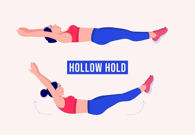 Hollow hold exercise woman workout fitness aerobic and exercises