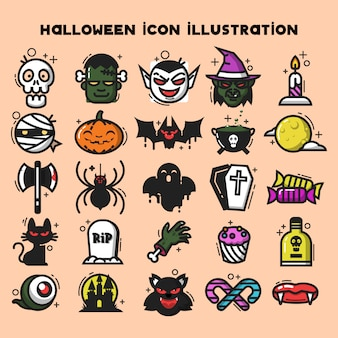 Holloween icon illustration template vector