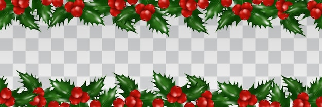 Holly berries border isolated. christmas decoration