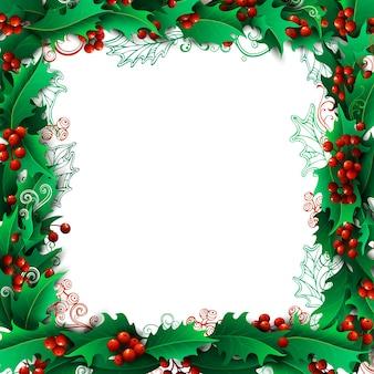 ヒイラギの果実クリスマスの背景
