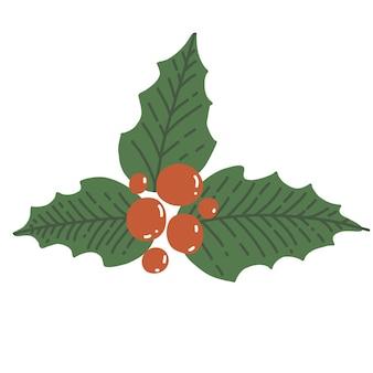 Холли беррис в мультяшном стиле. украшение растений на рождество и новый год