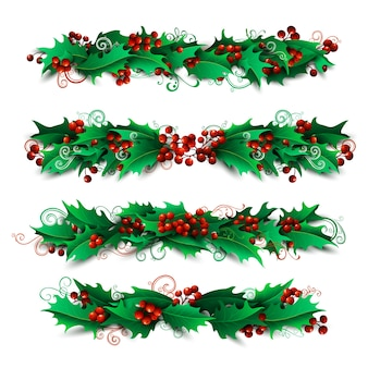 Holly berries page decorations and dividers set. christmas design elements isolated on white background.