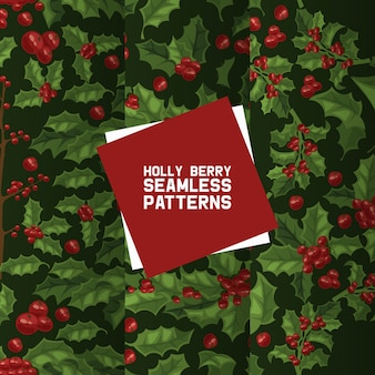 Holly berries seamless pattern. christmas decoration on xmas holiday