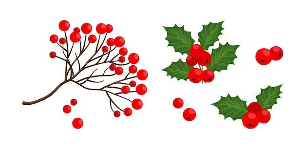 홀리 베리와 레드 마가목 베리 지점 아이콘, 크리스마스 기호, 휴일 식물, 겨울 ilustration