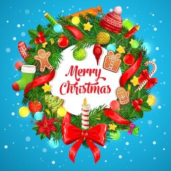 ホリーベリーとクリスマスギフトリースグリーティングカード