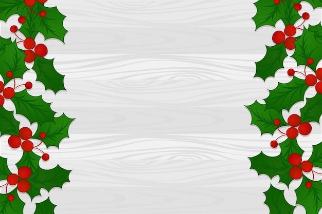 Holly berry christmas border on wooden background in cartoon style, mistletoe. new year holiday celebration symbol. vector illustration