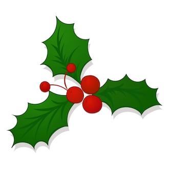 Holly berry christmas icon in cartoon style, mistletoe. new year holiday celebration symbol. vector illustration