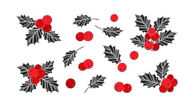 홀리 베리 크리스마스 벡터 아이콘, 시즌 장식 세트, 겨울 식물. 휴일 그림 프리미엄 벡터