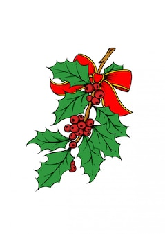 Holly berry hand drawn illustration. christmas and new year vector illustration with red ribbon