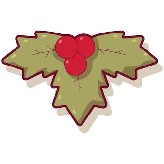 홀리 베리 잎 벡터 만화 일러스트 레이 션 흰색 배경에 고립.