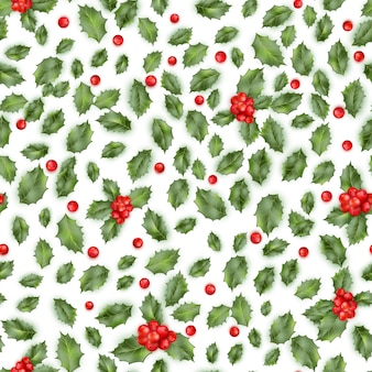 Holly berry. seamless pattern.