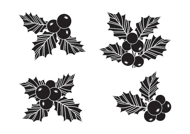홀리 베리 벡터 세트, 크리스마스 아이콘, 잎 장식, 휴일 식물 장식.