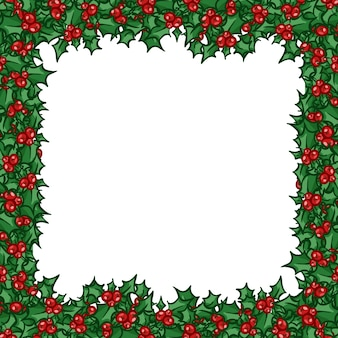 Holly frame. hand drawn vector design element