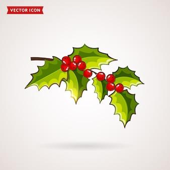 Holly icon. christmas symbol.