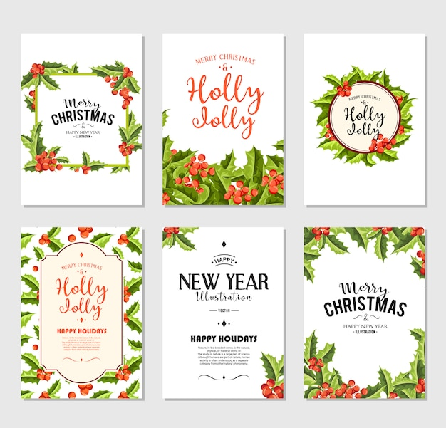 Holly jolly - christmas banners set.