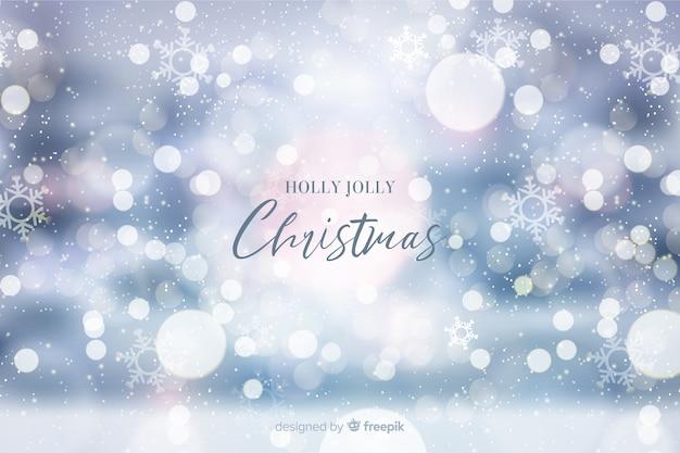 Holly jolly christmas bokeh background