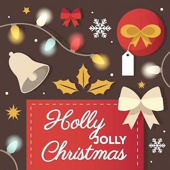 ホリー陽気なクリスマスグリーティングカードのデザイン