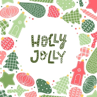 Holly jolly greeting card with lettering