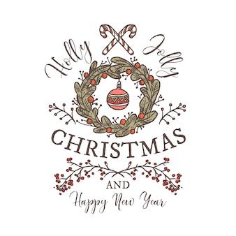 ホリージョリーメリークリスマスとハッピーニューイヤーの線形ロゴ、タグ、エンブレム、またはグリーティングカードのタイポグラフィと書道のラベル。お祝いの花輪と装飾