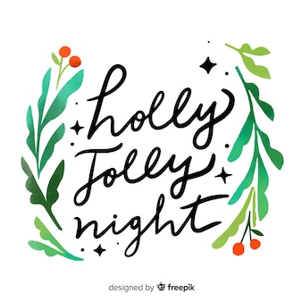 Holly jolly night christmas lettering