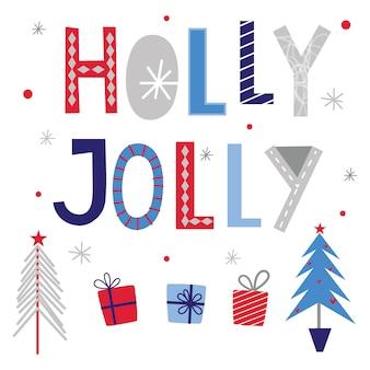 Холли веселая с елкой и новогодним подарком