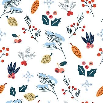홀리 잎과 열매는 매끄러운 패턴입니다. 크리스마스와 새해 복 많이 받으세요. 나뭇가지, 잎, 열매, 눈송이가 있는 배경. 손으로 그리는 겨울 패턴입니다. 연하장, 포장지용