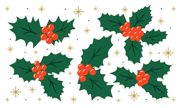 Holly set for christmas decor for greeting cards poster invitaton or prints