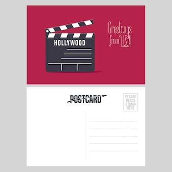 ハリウッドクラッパーボードのイラスト。アメリカへの旅行の概念のために米国から送信された航空便カードの要素