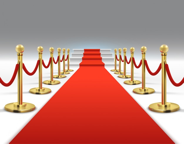 Hollywood luxury and elegant red carpet with stairs in perspective vector illustration.