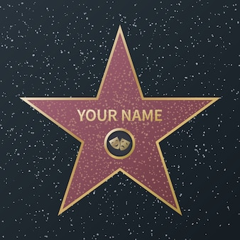 Hollywood walk of fame star. movie celebrity boulevard oscar award, granite street stars of famous actors, success films, vector image