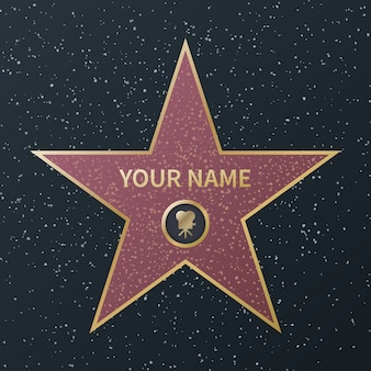 명예의 할리우드 워크. 영화 연예인대로 오스카 상, 유명한 배우를위한 화강암 거리 별, 성공 영화, 이미지