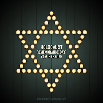 Holocaust remembrance day, star with lights