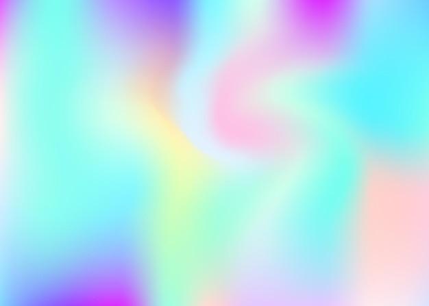 홀로그램 추상적인 배경입니다. 홀로그램이 있는 밝은 그라디언트 메쉬 배경. 90년대, 80년대 레트로 스타일. 책, 연간, 모바일 인터페이스, 웹 앱용 진주빛 그래픽 템플릿. 프리미엄 벡터