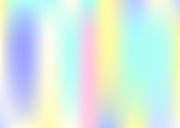 ホログラムの抽象的な背景。ホログラム付きネオングラデーションメッシュ背景。 90年代、80年代のレトロなスタイル。バナー、チラシ、カバーデザイン、モバイルインターフェイス、ウェブアプリの真珠光沢のあるグラフィックテンプレート。