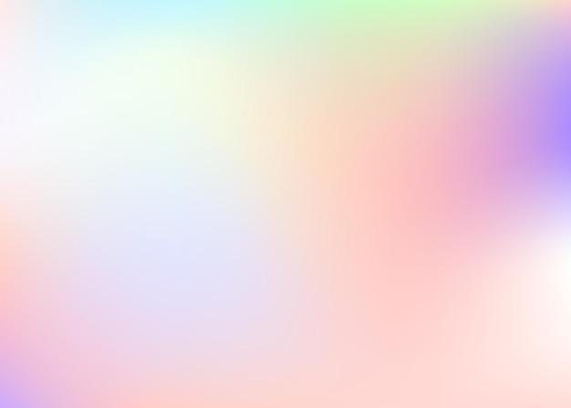 홀로그램 추상적인 배경입니다. 홀로그램이 있는 레인보우 그라디언트 메쉬 배경. 90년대, 80년대 레트로 스타일. 브로셔, 전단지, 포스터 디자인, 벽지, 모바일 화면에 대한 무지개 빛깔의 그래픽 템플릿.