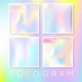 홀로그램 추상적인 배경을 설정합니다. 홀로그램으로 다채로운 그라데이션 배경입니다. 90년대, 80년대 레트로 스타일. 브로셔, 전단지, 포스터, 벽지, 모바일 화면을 위한 진주빛 그래픽 템플릿.