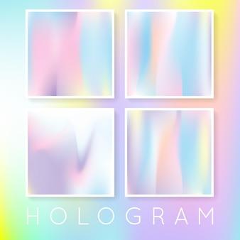 Набор абстрактных фонов голограммы. многоцветный градиентный фон с голограммой. ретро стиль 90-х, 80-х. перламутровый графический шаблон для брошюры, флаера, плаката, обоев, мобильного экрана.