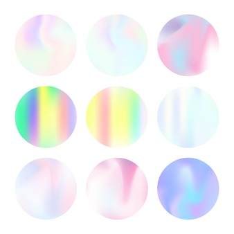ホログラムの抽象的な背景セット。ホログラム付きのプラスチックグラデーションの背景。 90年代、80年代のレトロなスタイル。バナー、チラシ、表紙、モバイルインターフェース、ウェブアプリの虹色のグラフィックテンプレート。