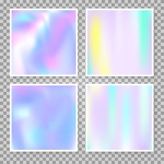 Набор абстрактных фонов голограммы. модный градиентный фон с голограммой. ретро стиль 90-х, 80-х. радужный графический шаблон для баннера, флаера, обложки, мобильного интерфейса, веб-приложения.