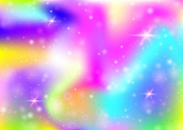 무지개 메쉬와 홀로그램 배경입니다. 공주 색상의 다채로운 우주 배너입니다. 판타지 그라데이션 배경입니다. 요정 반짝임, 별 및 흐림 효과가 있는 홀로그램 유니콘 배경.