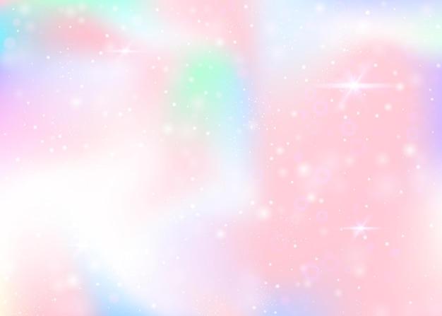 무지개 메쉬와 홀로그램 배경입니다. 공주 색상의 소녀 우주 배너입니다. 판타지 그라데이션 배경입니다. 요정 반짝임, 별 및 흐림 효과가 있는 홀로그램 유니콘 배경.