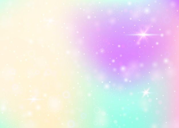 Hologram background with rainbow mesh. girlish universe banner in princess colors. fantasy gradient backdrop. hologram magic background with fairy sparkles, stars and blurs.